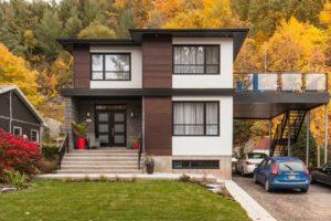 Construction de maison unifamiliale terrasse sur abris auto