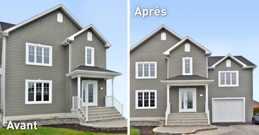 Transformation immobilière ajout d'un garage avec étage