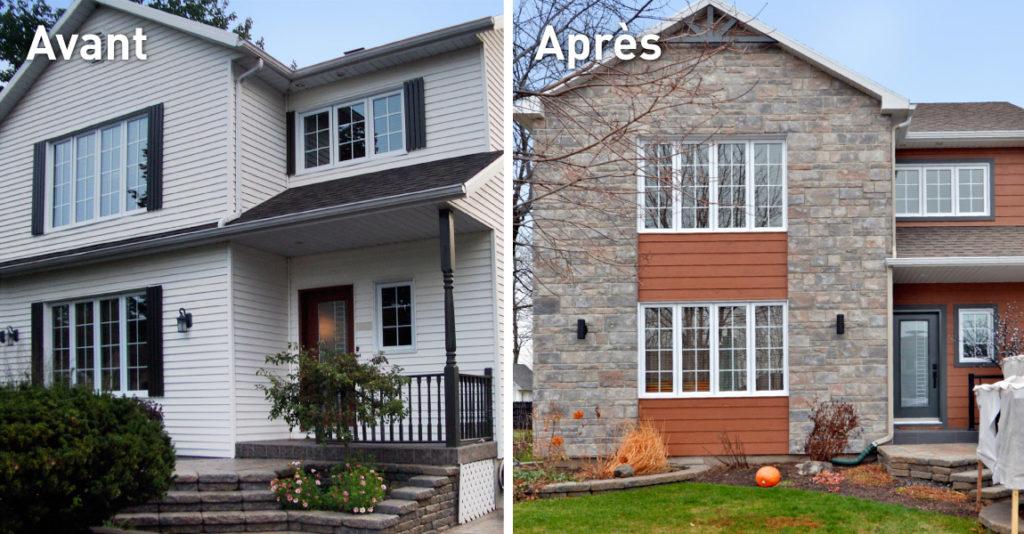 Transformation immobilière remplacement de la façade par brique et bois