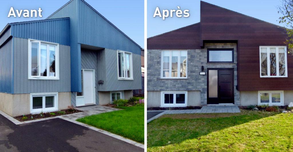 Transformation immobilière avant et après maison du bleu à brun