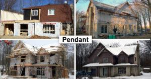 Transformation immobilièreTransformation immobilière maison pignon brique et bois foncé pendant